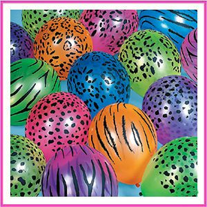 Zebra & Cheetah Animal Print Balloons Party Supplies ~ You Pick Color