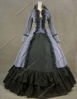 Gothic Cotton Black White Coat Dress Ball Gown Cosplay Reenactment 176