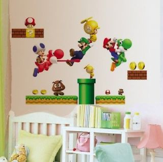 Super Mario Bros Removable Wallpaper Wall Sticker Decals Kids Nursery