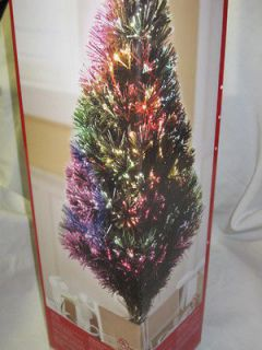 Green Fiber Optic Christmas Tree Gold Base 100 Tips Changes Colors