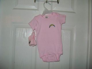 San Diego Chargers Baby One Piece 12 18 Months with Socks Pink NWOT