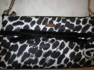 NWT Kate Spade Lindenwood Leopard Handbag in Black & Cream with Patent
