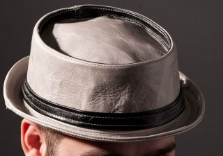 Jill Corbett grey/black leather pork pie hat with band Made in