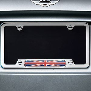 MINI COOPER CLUBMAN COUNTRYMAN UNION JACK LICENSE PLATE FRAME POLISHED