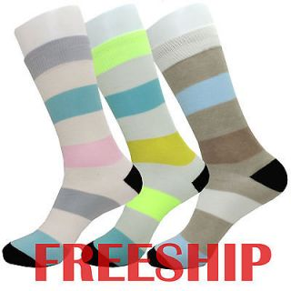 PAIR MENS FASHION CREW COTTON SOCKS   DRESS RUGBY STRIPE PATTERN