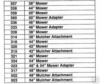 CUB CADET 38  56 IN MOWER DECKS ILLUSTRATED PART LISTS