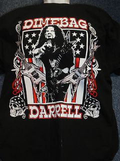 DIMEBAG DARRELL Guitar Flag Black T Shirt Official Bravado New Size L