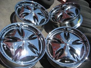 24 DUB ESSINEM SPINNERS CHROME BLACK WHEELS RIMS AND TIRES PACKAGE