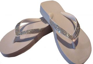 Rhinestone white bridal flip flop sandals   flats and wedges available