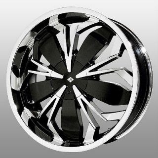 Black Ice Black Widow Chrome Wheels Rims 5x115 El Dorado 300C Charger