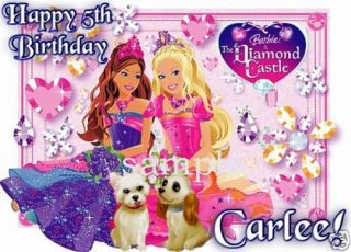 DIAMOND CASTLE Personalized Edible CAKE Topper Barbie B