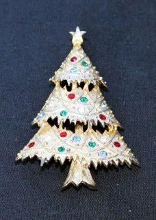 Vintage Signed EISENBERG ICE Goldtone Rhinestones CHRISTMAS TREE Pin