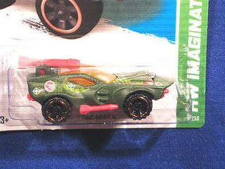 HOT WHEELS 2013 STING ROD TREASURE HUNT ARMY GREEN/RED W/ROCKET