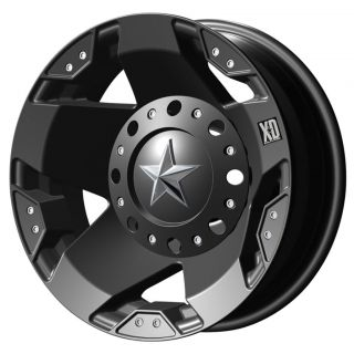 Rockstar Dually Matte Black Wheels FRONT & REAR SET 8X6.5 GM HD / Ram