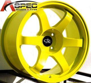 17x9 9 5 Staggered Rota Grid Wheels 4x114 3 Rims 12mm Yellow Fits