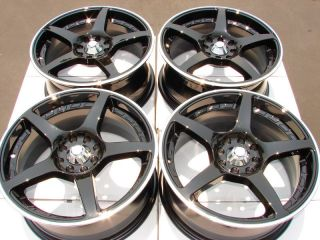 4x100 4 Lug Black Wheels Focus Civic Integra Yaris Kia Rio Cougar Rims