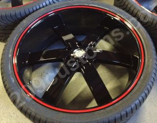 26 U255 Black Red Line Wheels Tires Rims Suburban Escalade Tahoe