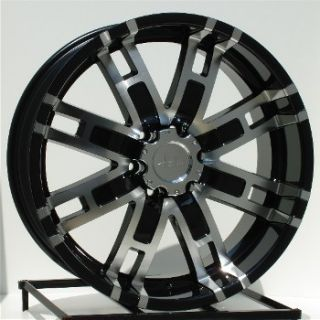 22 inch Black Wheels Rims Chevy GMC 6 Lug Truck Helo