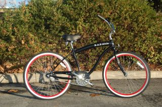 Cruiser Big Frame Black Red Rims 26 Wheels Brand New Beach Bike