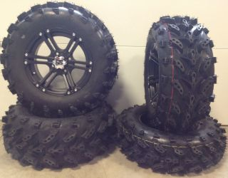 ITP SS212 14 Wheels Black 27 Swamp Lite Tires Yamaha Grizzly Rhino 4