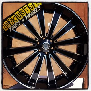26 INCH VERSANTE RIMS WHEELS TIRES VW225 BLACK 6X139 7 TAHOE 2004 2005