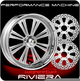 Chrome Performance Machine Riviera Wheels Rotors Pulley Tires Harley
