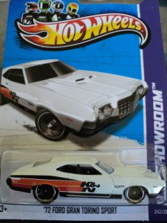 2013 Hot Wheels 72 Ford Gran Torino Sport New White E Case USA Card