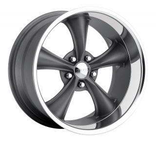 Motorsports style 338 wheels rims, 18x8 front+18x9.5 rear, 5x4.75 gray