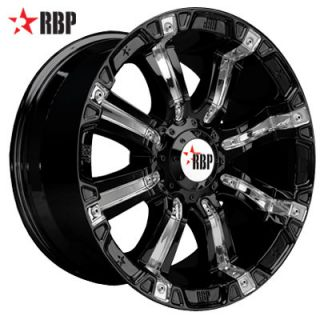 20 RBP 94R Black Offroad 20 inch 6 Lug 8 Lug Wheels Tires Rims