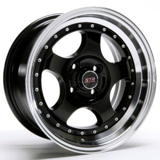 15 INCH STR506B BLK/MACH RIMS AND TIRES 4X100 ACCORD CIVIC FIT PRELUDE