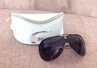 Cavalli w Case Black Lens Metal Rim Shield Sunglasses do Peek