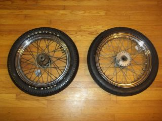 Vint 1977 Harley Davidson Sportster Wheels Tires Chrome Spoke Goodyear