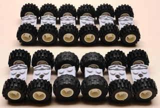 New Lego Wheels Vehicle Parts Car Truck Tire Rim Sets w Axles City