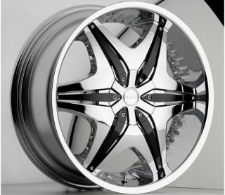 22 inch Akuza Big Papi Chrome Wheels Rims 5x115 rwd 15