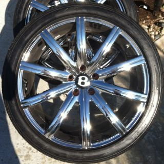 20 Authentic KAHN RS V Chrome Wheels Tires Set Audi VW Bentley Bmw 750