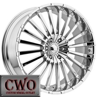 22 Chrome Panther Spline Wheels Rims 5x127 5 Lug Chevy GMC C1500 Jeep