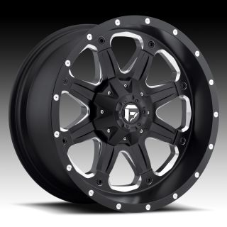 18x9 20 Fuel Boost Black Wheels Rims 6x5 5 6x135 6 Lug Chevy GM Ford