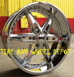 22 inch Dub Bully Rims Wheels and Tires 6x135 Expedition F 150