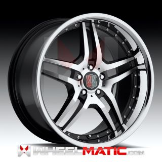 New 20 5x112 Roderick RW2 Black Machine Chrome Lip Wheels Rims
