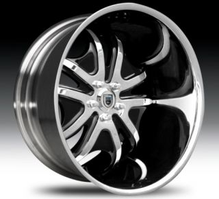 22 asanti AFC405 Black Mach Chrome Wheels Rims 2 Piece