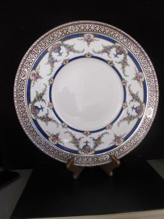 ROYAL WORCESTER ROSEMARY CABINET PLATE WITH STERLING SILVER RIM 12 5 D