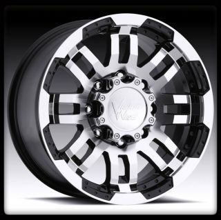 VISION 375 WARRIOR 8X6.5 8X165.1 BLACK MACHINED WHEELS RIMS  6 MM
