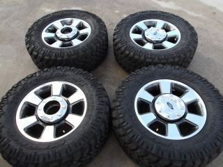 FORD F250 F350 POLISHED FACTORY OEM WHEELS RIMS NITTO MUD TIRES 3843