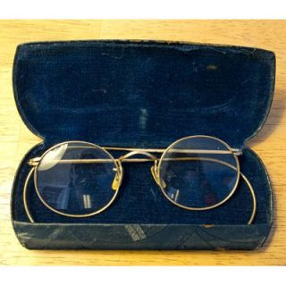 Antique B L 1 10 12K GF Gold Frame Wire Rim Eye Glasses w Case Estate