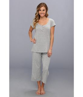 Kenneth Cole Reaction Fundamental Henley Capri Set Womens Pajama Sets (Silver)
