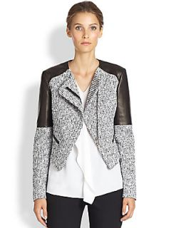 Michael Kors Tweed & Leather Jacket   Optic White Black