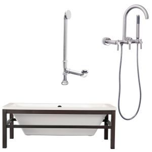 Giagni LT1 BN Tella Wengé Finish Wood Cradle Tub, Drain & Wall Mount Faucet with