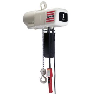 Coffing Industrial Duty Electric Chain Hoists   2000 Lb. Capacity   1 Hp Motor   20 Lift, 16 Cord   115 Volt, 1 Phase