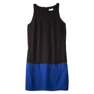 Merona Womens Colorblock Hem Shift Dress   Black/Waterloo Blue   M