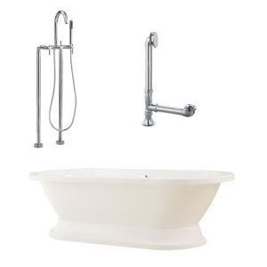 Giagni LC2 PC Capri Tub with Plinth, Drain, Supply Lines, & Floor Mount Faucet w